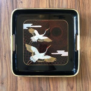 Vintage Japanese Square Crane Tray with Handles